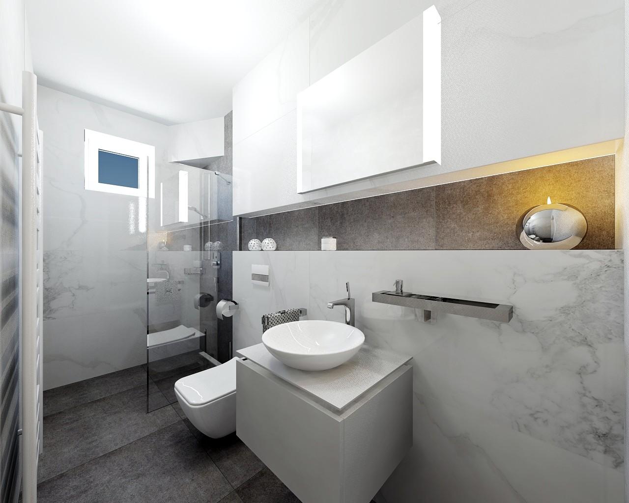 Modern Marble Guest Bathroom Visoft360