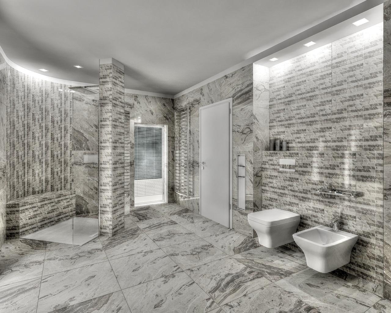 Grey marble bathroom in hdr bathroom by tom for Grey marble bathroom