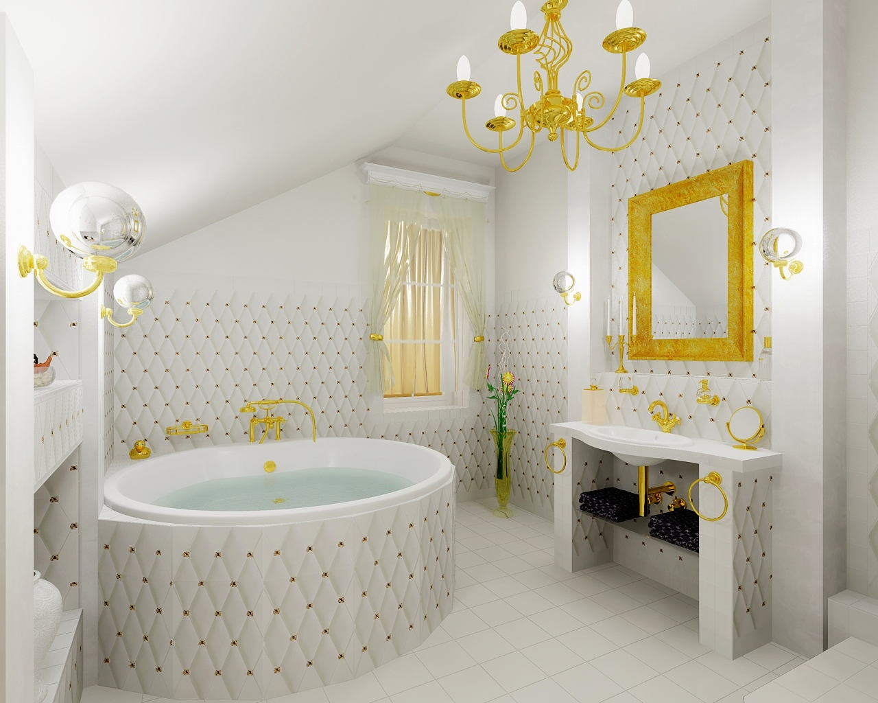 Luxury gold bathroom bathroom by tom on for Home design gold ideas