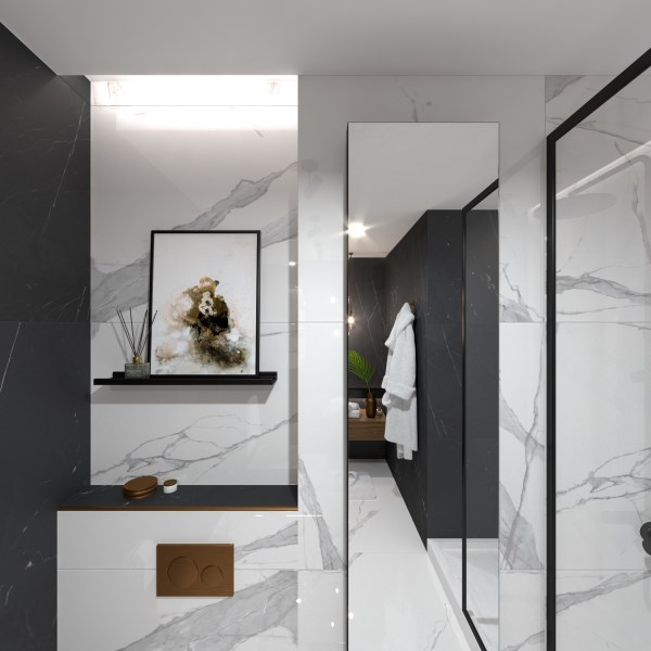 Bathroom Small marble bathroom by ViSoft: panorama (ViSoft)