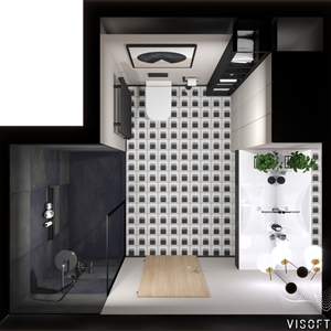 LivingRoom Modern Black Geometry Bathroom_04