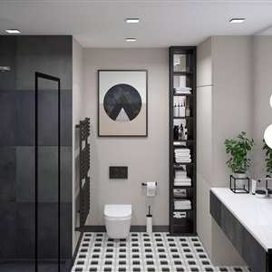LivingRoom Modern Black Geometry Bathroom_01