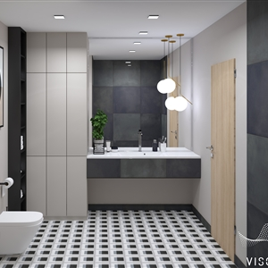 LivingRoom Modern Black Geometry Bathroom_02