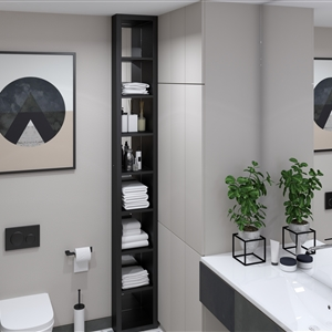 LivingRoom Modern Black Geometry Bathroom_03
