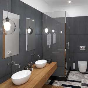 LivingRoom Black and Wood Bathroom_02