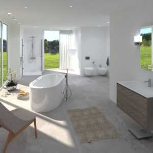 LivingRoom Luxury bathroom with forest view (Roman Koval)