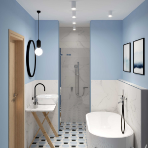 Kitchen Modern Blue Geometry Bathroom (ViSoft)