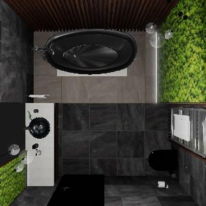 90 Dark Moss Wooden Bathroom (ViSoft)