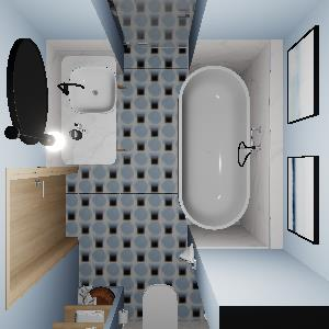 90 Modern Blue Geometry Bathroom (ViSoft)